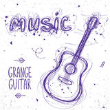 Guitar doodle. Beautiful sketch doodle guitar and word music of sloppy lines Royalty Free Stock Image