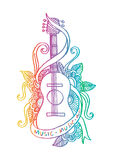 Guitar doodle. Hand drawn guitar with floral decorative Stock Photography