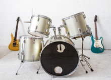 Guitar and drum kit Royalty Free Stock Photo