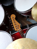 Guitar and Drums. Symbiose of a electric guitar and drums Stock Photo