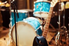 Guitar drums and studio equipment. And other instruments Royalty Free Stock Photo