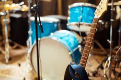 Guitar drums and studio equipment. And other instruments Royalty Free Stock Photography