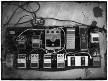 Guitar effects pedals pedalboard stock photography