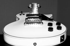Guitar - Electric. Black and white close-up shot of a electric guitar Royalty Free Stock Photo