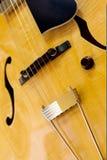 Guitar. Electric guitar closeup with strings and bridge stock images