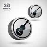 Guitar and electric guitar music icons isolated. Stock Photos