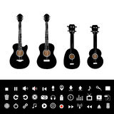 Guitar electric and music set Royalty Free Stock Photos