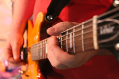 Guitar. Electric Guitar played on stage stock images