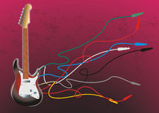 Guitar electric with unplug cable. Guitar electric illustration with disorder unplug cable Royalty Free Stock Photo