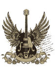 Guitar emblem Royalty Free Stock Photo