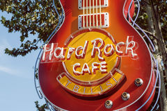Guitar at entrance of Hard Rock Cafe, the popular rock`n`roll bar Royalty Free Stock Photo