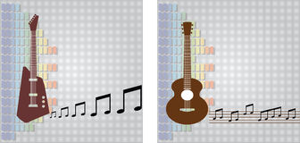 Guitar and equalizer background Royalty Free Stock Photos