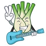 With guitar fennel mascot cartoon style. Vector illustration Stock Photography