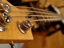 Guitar fingerboard. Macro photograph of a bass guitar fingerboard royalty free stock photo