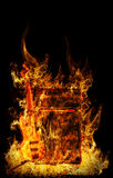 Guitar in fire. Guitar cabinet with amplifer in fire Royalty Free Stock Photography