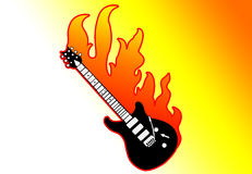 Guitar on fire Stock Photo