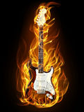 Guitar in fire. Electric guitar in fire and flames on black background Stock Photo