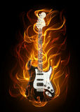 Guitar in fire. Acoustic guitar in fire and flames on black background vector illustration
