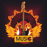 Guitar on fire Royalty Free Stock Photos