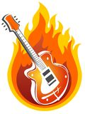 Guitar and fire Stock Images