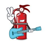 With guitar fire extinguisher mascot cartoon. Vector illustration Royalty Free Stock Photography