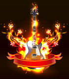 Guitar in fire flames. Vector Guitar in fire flames on black background, eps 10 stock illustration