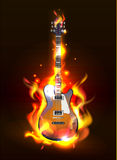 Guitar in fire flames. Vector Guitar in fire flames on black background, eps 10 royalty free illustration
