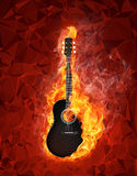 Guitar in fire on polygonal background. Acoustic - Electric Guitar in fire on polygon background Royalty Free Stock Photography