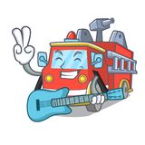 With guitar fire truck mascot cartoon. Vector illustration Royalty Free Stock Photography
