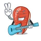 With guitar fish slice mascot cartoon. Vector illustration Royalty Free Stock Photography