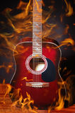 Guitar in flame Royalty Free Stock Photo