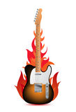 Guitar in flames Royalty Free Stock Photo
