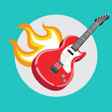 Guitar with flames flat design Royalty Free Stock Photography