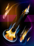 Guitar in flames. Royalty Free Stock Photo