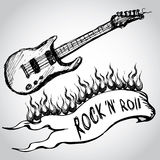 Guitar, flames, rock and roll. Stock Images