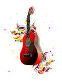Guitar and floral Royalty Free Stock Photos
