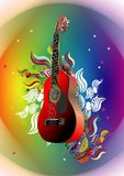 Guitar floral designation. Illustration of a red-lit guitar with a floral abstract colorful background Royalty Free Illustration