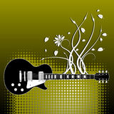 Guitar on floral background Royalty Free Stock Images