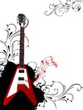 Guitar with floral design Royalty Free Stock Photos