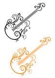 Guitar with floral elements Royalty Free Stock Photos