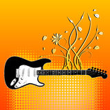 Guitar with floral elements Royalty Free Stock Images