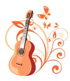 Guitar and floral pattern Royalty Free Stock Photography