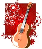 Guitar with flowers Royalty Free Stock Photos