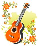 Guitar and flowers Stock Images