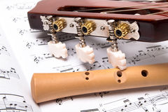 Guitar and flute royalty free stock photo