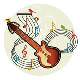 Guitar with foliage and birds Stock Image