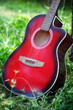 Guitar in forest Stock Photo
