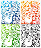 Guitar in four colors with ornamental background Stock Photo