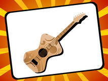 Guitar in frame. On sunburst background Royalty Free Stock Image