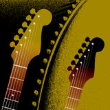 Guitar fret background. A background illustration, made up of guitar frets and head on an olive green and black background Royalty Free Stock Photo